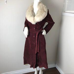 Vintage Suede Coat Genuine Fur Collar Burgundy